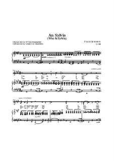 An Sylvia (To Sylvia), D.891 Op.106 No.4: For high voice and piano (English text) by Franz Schubert