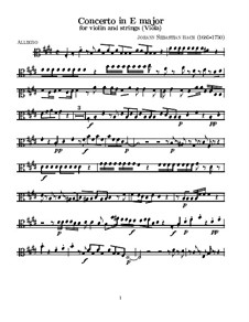 Concerto for Violin, Strings and Basso Continuo No.2 in E Major, BWV 1042: Viola part by Johann Sebastian Bach