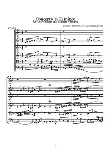 Double Concerto for Two Violins, Strings and Basso Continuo in D Minor, BWV 1043: Full score by Johann Sebastian Bach