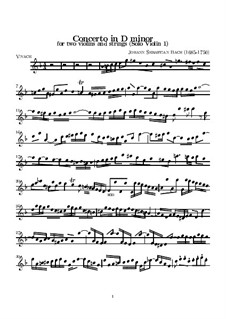 Double Concerto for Two Violins, Strings and Basso Continuo in D Minor, BWV 1043: Violin solo I part by Johann Sebastian Bach