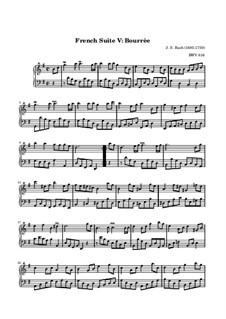 Suite No.5 in G Major, BWV 816: Bourrée by Johann Sebastian Bach