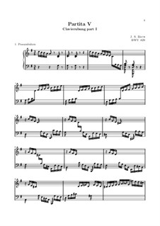 Partita for Keyboard No.5 in G Major, BWV 829: For a single performer by Johann Sebastian Bach
