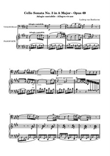 Sonata for Cello and Piano No.3 in A Major, Op.69: Adagio cantabile by Ludwig van Beethoven