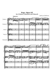Fugue for String Quintet in D Major, Op.137: Full score by Ludwig van Beethoven