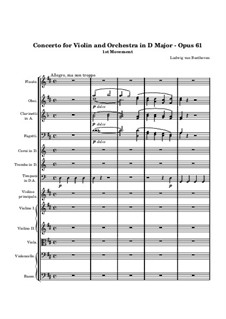 Concerto for Violin and Orchestra in D Major, Op.61: Movement I by Ludwig van Beethoven