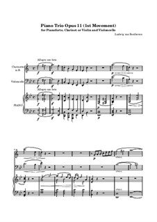 Trio for Clarinet, Cello and Piano No.4 'Gassenhauer' , Op.11: Movement I by Ludwig van Beethoven