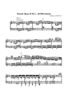 Sonata for Piano No.5, Op.10 No.1: Movement III (Prestissimo) by Ludwig van Beethoven