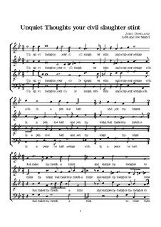 Unquiet Thoughts: Vocal score by John Dowland