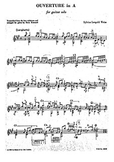 Overture in A Major: For guitar by Silvius Leopold Weiss