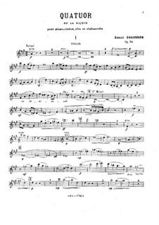 Piano Quartet in A Major, Op.30: Full score, parts by Ernest Chausson