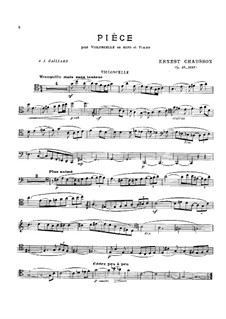 Piece for Cello (or Viola) and Piano, Op.39: Score, solo parts by Ernest Chausson