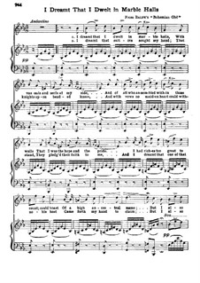 The Bohemian Girl: Act II, I Dreamt That I Dwelt in Marble Halls, for Voice and Piano by Michael William Balfe