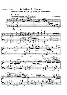 Brilliant Variations on Rondo from 'Ludovic' by Hérold, Op.12: For piano by Frédéric Chopin