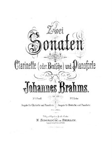 Sonatas for Clarinet (or Viola) and Piano, Op.120: Sonata No.1 – score and part by Johannes Brahms