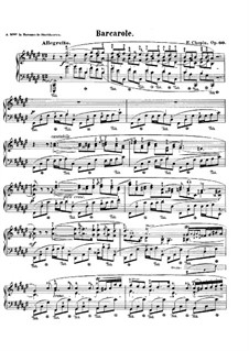 Barcarolle in F Sharp Major, Op.60: For piano by Frédéric Chopin