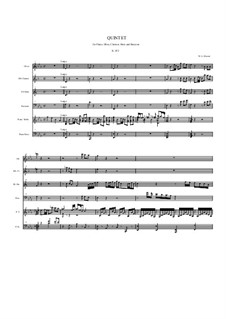 Quintet for Winds and Piano in E Flat Major, K.452: Full score by Wolfgang Amadeus Mozart
