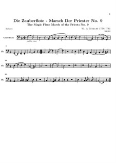 March of the Priests: Double bass part by Wolfgang Amadeus Mozart
