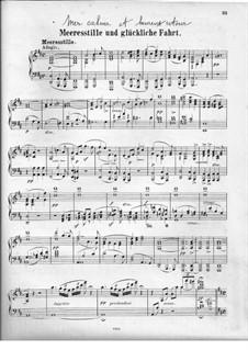 Meeresstille und glückliche Fahrt (Calm Sea and Prosperous Voyage), Op.27: Overture, for piano by Felix Mendelssohn-Bartholdy