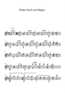 Sixteen Waltzes Favorites: Waltz No.9, for Guitar by Johann Strauss (Sohn)