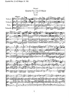 String Quartet No.2 in D Major, K.155: Full score by Wolfgang Amadeus Mozart