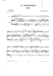Two Arabesque, L.66: Arabesque No.1, for violin and piano by Claude Debussy