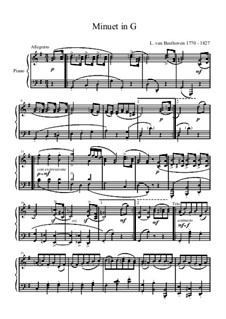 Six Minuets for Orchestra, WoO 10: Minuet No.2. Version for piano by Ludwig van Beethoven