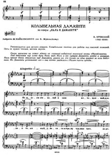 Nal and Damayanti, Op.47: Lullaby Damayanti, for voice and piano by Anton Arensky