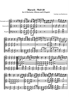 March for Wind Sextet in E Flat Major, WoO 29: Full score by Ludwig van Beethoven