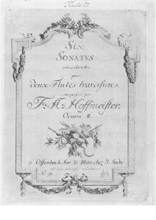 Six Concert Sonatas for Two Flutes, Op.2: Six Concert Sonatas for Two Flutes by Franz Anton Hoffmeister