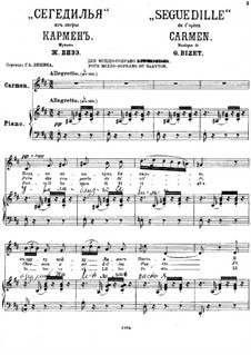 Seguedille: Piano-vocal score by Georges Bizet
