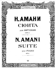 Suite for Piano, Op.4: For a single performer by Nikolay Amani