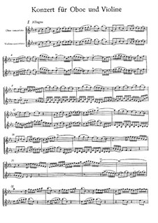 Concerto for Violin, Oboe and Strings No.1 in C Minor, BWV 1060r: Oboe and violin solo parts by Johann Sebastian Bach