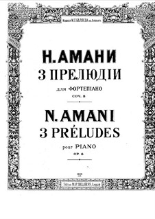 Three Preludes, Op.8: Three Preludes by Nikolay Amani