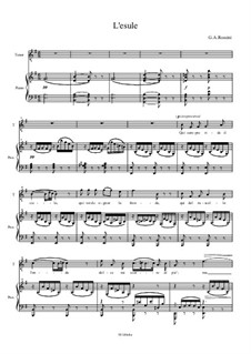 L'esule: Piano score with vocal by Gioacchino Rossini