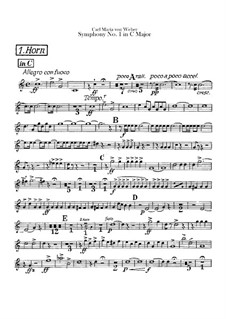 Symphony No.1 in C Major, J.50 Op.19: Horns part by Carl Maria von Weber