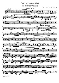 Concertino for Horn in E and Orchestra, J.188 Op.45: Solo part by Carl Maria von Weber