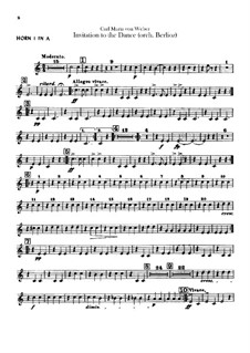 Invitation to the Dance, J.260 Op.65: For orchestra – horns parts by Carl Maria von Weber