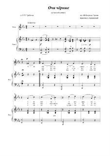 Dark Eyes (Ochi Cheornie): For voice and piano by Florian Hermann
