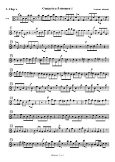 Concerto for Strings in C Major: Movement I (Allegro) – viola part by Tomaso Albinoni