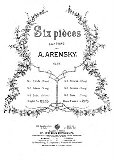 Six Pieces, Op.53: Complete set by Anton Arensky