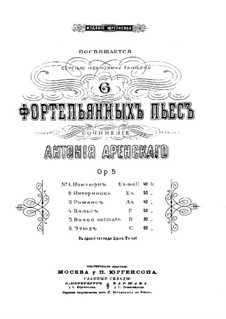 Six Pieces, Op.5: Complete set by Anton Arensky