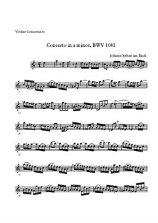 Concerto for Violin, Strings and Basso Continuo No.1 in A Minor, BWV 1041: Movement I – solo part by Johann Sebastian Bach