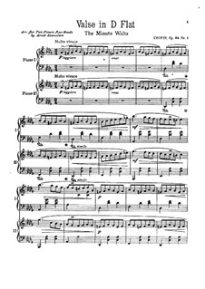 No.1 in D Flat Major: For two pianos four hands by Frédéric Chopin