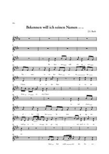 Bekennen Will Ich Seinen Namen, BWV 200: Voice part by Johann Sebastian Bach