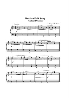 Russian Folk Song for Piano: For piano by Ludwig van Beethoven