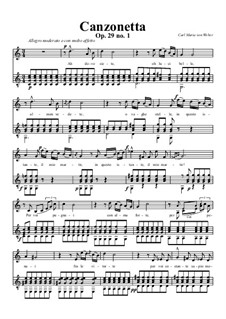Three Canzonettas, Op.29: Score for two performers, J.108 by Carl Maria von Weber
