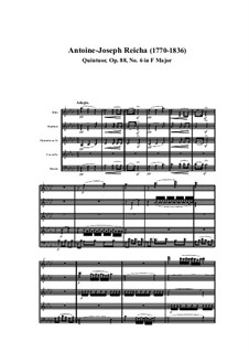 Woodwind Quintet in F Major, Op.88 No.6: Movement I by Anton Reicha
