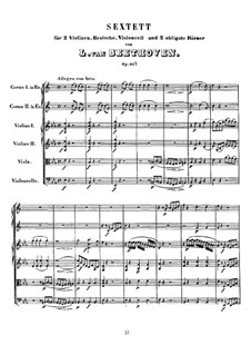 Sextet in E Flat Major, Op.81b: Full score by Ludwig van Beethoven