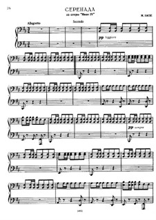 Ivan IV: Serenade, for piano four hands by Georges Bizet