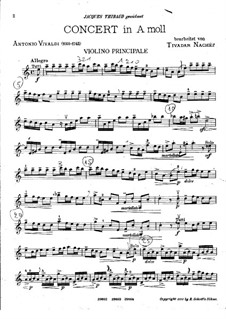 Concerto for Violin and Strings No.6 in A Minor, RV 356: Version for violin and piano by Antonio Vivaldi
